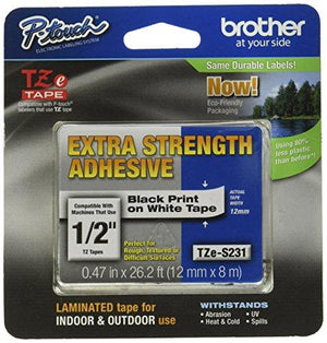 Brother Laminated Tape Black On White Extra Strength (Clam), 12Mm (Tzes231Cs) -