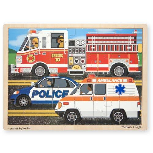 Melissa & Doug To The Rescue! Wooden Jigsaw Puzzle - Rescue Vehicles (24 Pcs)