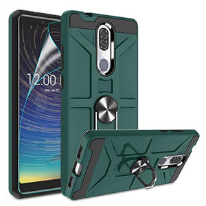Atump Coolpad Legacy Case with HD Screen Protector, 360° Rotation Ring Holder Kickstand [Work with Magnetic Car Mount] PC+ TPU Phone Case for Coolpad Legacy, Midnight Green