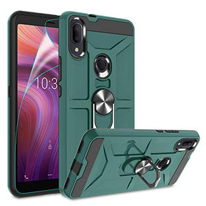 Alcatel 3V 2019/5032W Case with HD Screen Protector,(Not Fit Alcatel 3V 2018) Atump 360° Rotation Ring Holder Kickstand PC+ TPU Phone Case for Alcatel 3V 2019,Midnight Green