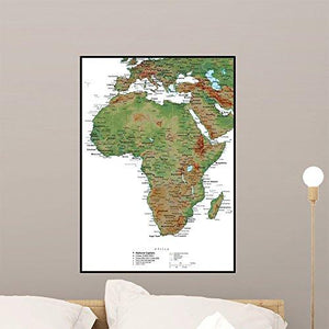Wallmonkeys Africa Terrain Educational Map Wall Mural Peel and Stick Graphic (24 in H x 17 in W) WM207519