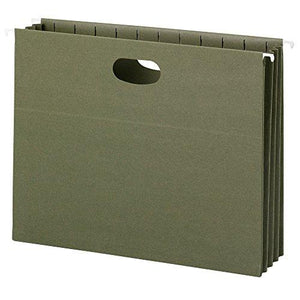 "Smead 100% Recycled Hanging File Pocket, 3-1/2"" Expansion, Letter Size, Standard Green, 10 Per Box (64226)"