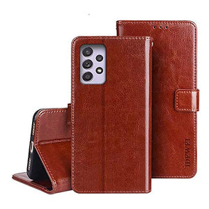 "Luhuanx Case for Samsung Galaxy A52 and 5G,Galaxy A52 Case 4G/5G,Leather Quality with Full Coverage Design Slim Case for Samsung A52 Case in 6.5"" inch Anti-Drop (Brown)"