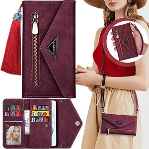 "Crossbody Wallet Case for Samsung Galaxy S21 Ultra 5G 6.8"",S21 Ultra Case Wallet Women,Kecko 7 Card Holder Kickstand Magnetic Wallet Clutch Case Flip Leather Card Organizer Wristlet Zipper Purse Bag"