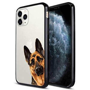 FINCIBO Case Compatible with Apple iPhone 11 Pro Max 6.5 inch, Slim TPU Bumper + Clear Hard Protective Case Cover for iPhone 11 Pro Max (NOT FIT 11 Pro) - Black Tan German Shepherd Dog Hide and Seek