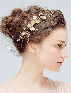 Denifery Bridal Comb Floral Gold Crystal Leaf Bridal Hair Comb Vintage Inspired Hairpiece Crystal Comb Veil Clip Bridal Hair Accessories