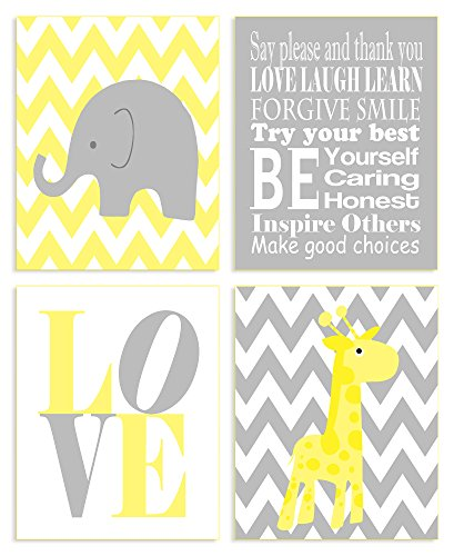 The Kids Room By Stupell Yellow And Grey Chevron Elephant And Giraffe Typography 4-Pc. Rectangle Wall Plaque Set, Proudly Made in USA