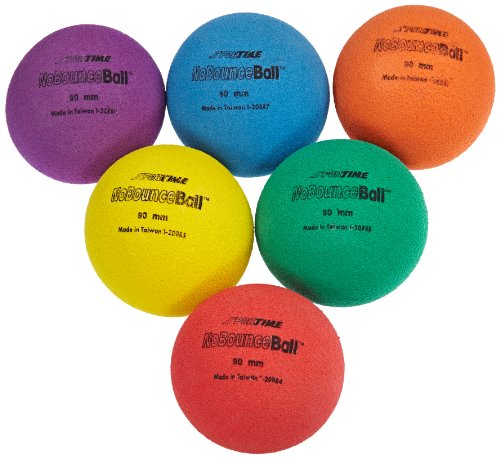 Sportime UltraFoam NoBounce Balls - 3 1/2 inch - Set of 6 - Red, Orange, Yellow, Green, Blue, Violet