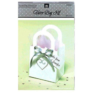 "Amscan 340328 Heart Wedding Favor Bag Kit, 3 1/2"" X 3"", White"