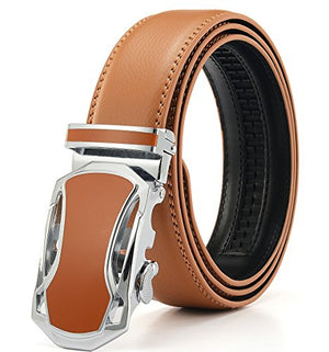 "Xhtang Men's Solid Buckle with Automatic Ratchet Leather Belt 35mm Wide 1 3/8"" (Waist:36-43, orange)"