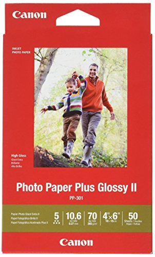 "Canon Glossy Photo Paper Plus II, 4""x6""(50 Sheets)"