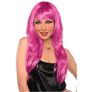 Amscan 397285.103 Perfect Team Spirit Glam Long Wig Accessory, Pink, One Size Party Supplies
