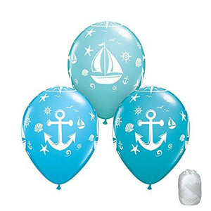 Generic 10 Pack 11 Nautical Sailboat Anchor Blue Latex Balloons With Matching Ribbons