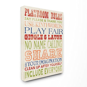 Stupell Industries Playroom Rules in Four Colors Wall Art 16x20