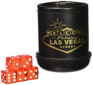 "Chh Black Deluxe ""Welcome To Las Vegas"" Dice Cup With 5 Standard Dice"