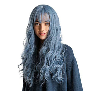BLONDE UNICORN Long Curly Hair Wigs for Women with Hair Bangs Fluffy and Natural Synthetic Blue Hair Wig