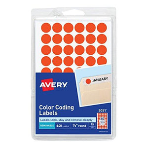 "Avery 05051 Handwrite Only Removable Round Color-Coding Labels, 1/2"" Dia, Neon Red (Pack Of 840)"