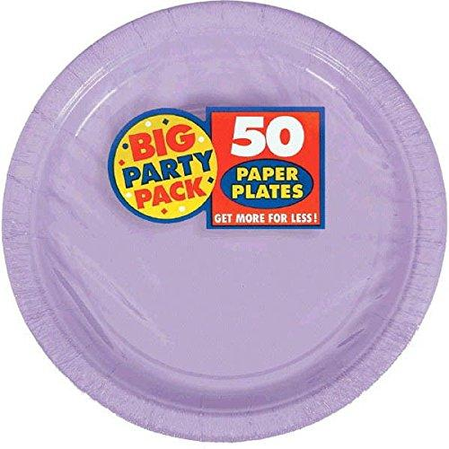 Amscan Ami 640013.04 048419943129 Big Party Pack 50 Count Paper Dessert Plates, 7-Inch, Lavender
