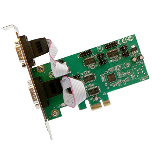 Syba IO Crest 4 Port PCI Express 1.0 X1 to Industrial DB9 com RS232 Converter Adapter Controller for Desktop PC with Low Bracket RS-232 Asix99100 Chipset