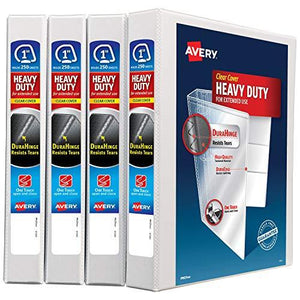 "Avery 1"" Heavy Duty View 3 Ring Binder, One Touch Slant Ring, Holds 8.5"" X 11"" Paper, 4 White Binders (79799)"