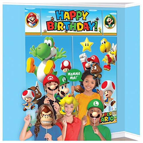 "Super Mario Happy Birthday Giant Scene Setters Wall Decorating Kit Party Backdrop, 5 Pieces, Made from Vinyl, Multicolor, 59"" x 65"" by Amscan"