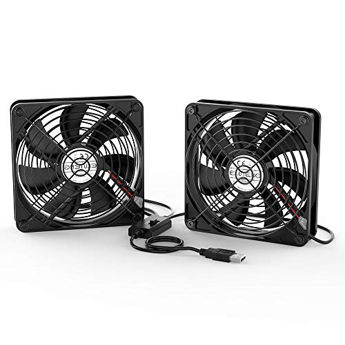 ELUTENG Dual 120mm USB Fan with 3 Speed Controller, 5V Ventilator Fan Rechargeable Compatible for Laptop Receiver DVR Playstation Xbox Desk Computer Cabinet Cooling