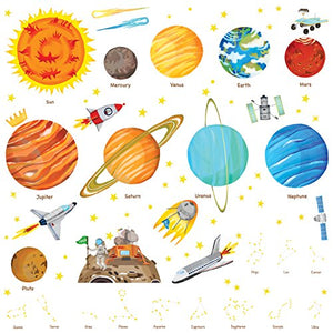 DECOWALL DA-1501 The Solar System Kids Wall Stickers Wall Decals Peel and Stick Removable Wall Stickers for Kids Nursery Bedroom Living Room (Large)