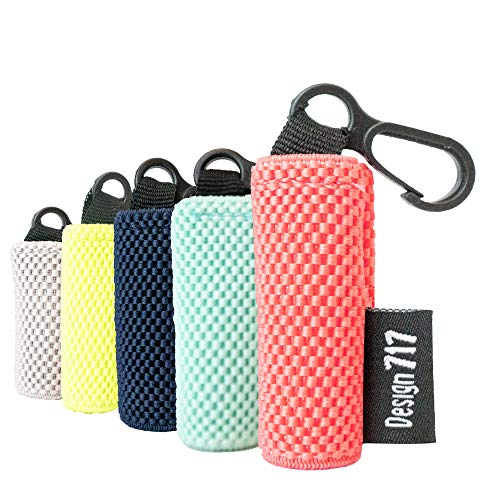 Clip-On Chapstick Sleeves. Woven Nylon Lip Balm Holder 5-Pack.