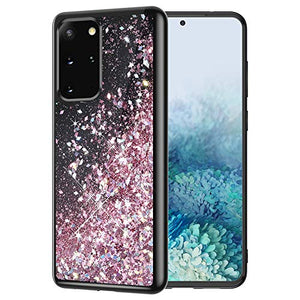 Caka Case for Galaxy S20 Plus Glitter Case for Girls Women Liquid Bling Sparkle Fashion Flowing Floating Luxury Shining Glitter Quicksand TPU Black Case for Galaxy S20 Plus (Rose Gold)