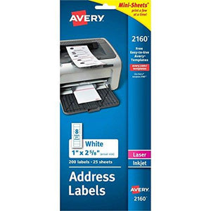 "Avery Mini-Sheets Address Labels 1"" X 2-5/8"", Pack Of 200 (2160)"
