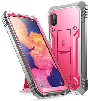 Galaxy A10E Rugged Case with Kickstand, Poetic Full-Body Dual-Layer Shockproof Protective Cover, Built-in-Screen Protector, Revolution Series, Defender Case for Samsung Galaxy A10E, Pink