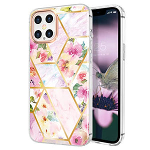 Zelaxy Iphone 12 Pro Max,shockproof Protective Anti-Slip Slim Hard Shell Bumper Cute Floral Flower Case For Iphone 12 Pro Max 6.7 Inch (Marble Moss)
