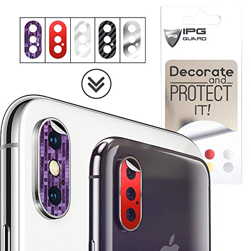"IPG for iPhone Xs X Xs Max Camera Lens Protector "" Decorate & Protect Back Camera Lens "" Vinyl Cover 5 Sticker Set Shield Anti-Scratch Camera Guard"