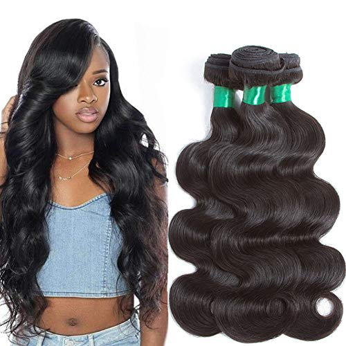 "Mink Brazilian Body Wave 10A 3 Bundles Virgin Hair Deal 100% UnprocessedBody Wave Human Hair Weave Weft Natural Color 3pcs Real Remy Human Hair Extensions Weaving (20""18""16"") Pecwu"