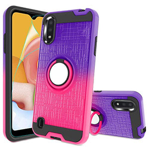 Atump Galaxy A01 Case,A01 Phone Case with HD Screen Protector, 360 Degree Rotating Ring Holder Kickstand Bracket Cover Phone Case for Samsung Galaxy A01 Purple/Red