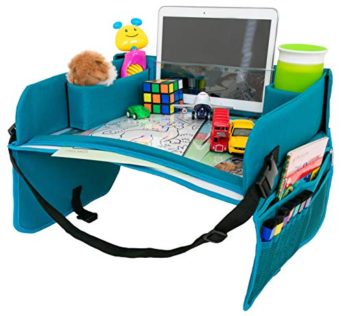 Kids Travel Tray for Carseat - Dry Erase Surface, Bonus Creative Cards, Toddler Travel Activity Tray, Lap Table for Car Seat, Child Snack Play Tray