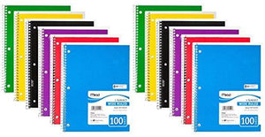 "Mead Spiral Notebook, 1 Subject, Wide Ruled, 100 Sheets, 8"" X 10 1/2"", Assorted Colors, Pack Of 12"