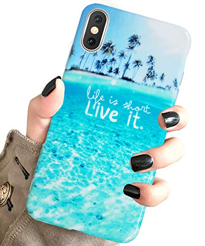 J.west iPhone Xs Case for Girls Women, iPhone X Unique Summer Tropical Blue Beach Ocean Pattern Design Slim Fit Soft Silicone TPU Phone Cover Shockproof Protective Case for iPhone Xs/X 5.8 Blue Beach