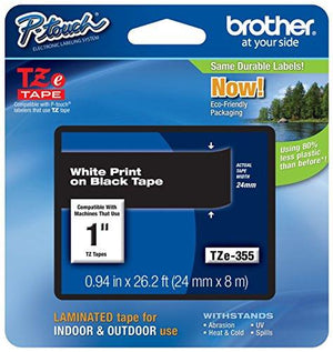 Brother Laminated Tape White On Black, 24Mm (Tze355) -