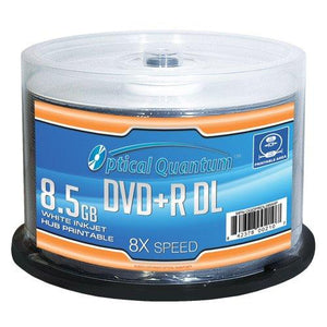 Optical Quantum Oqdprdl08Wip-H 8X8.5Gb Dvd+R Dl White Inkjet Printable Recordable BlankMedia 50Disc