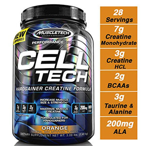 MuscleTech Cell Tech Creatine Monohydrate Formula Powder, HPLC-Certified, Improved Muscle Growth & Recovery, Orange, 30 Servings (3.09 Pound)