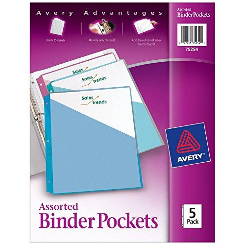 "Avery Binder Pockets, Assorted Colors, 8.5"" X 11"", Acid-Free, Durable, 5 Slash Jackets (75254)"