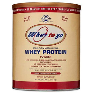 Solgar Whey To Go Protein Powder - Natural Chocolate Flavor - 41 Oz