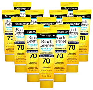 Neutrogena Beach Defense Sunscreen Lotion Broad Spectrum SPF 70, 1 Fl. Oz, (Pack of 12)