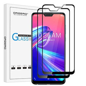(2 Pack) Orzero Tempered Glass Screen Protector Compatible for Asus Zenfone Max Pro (M2) ZB631KL (Full Adhesive), 2.5D Arc Edges 9 Hardness HD Anti-Scratch Full-Coverage(Lifetime Replacement)