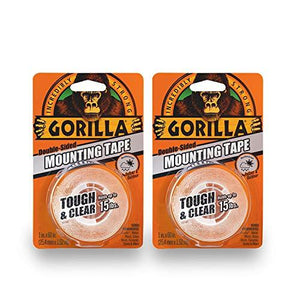 "Gorilla 6065016 6065001-2 Tough Mounting Tape Double-Sided 1"" X 60"" Clear Pack Of 2"