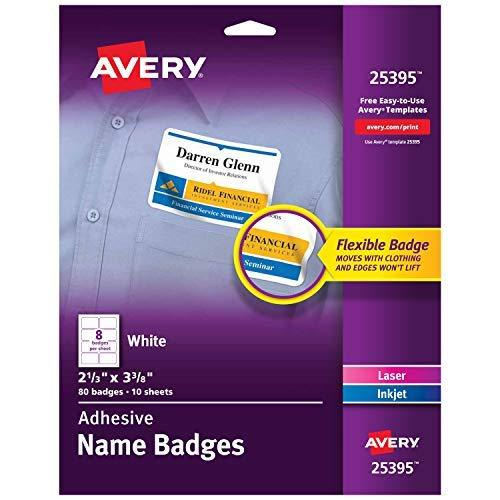Avery Self-Adhesive Name Badges - 2.33 X 3.375 Inch - White - 80