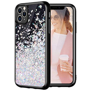 Caka Black Case for iPhone 11 Pro Max Glitter Case Starry Night for Girls Women Liquid Bling Shining Sparkle Luxury Flowing Floating Soft TPU Case for iPhone 11 Pro Max (6.5 inch)(2019)(Silver)