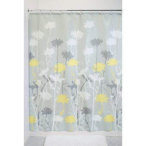 Interdesign Daizy Shower Curtain - Gray And Yellow - 72-Inch By 72-Inch