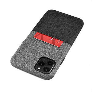 "Dockem iPhone 11 Pro Max Luxe M1 Wallet Case (6.5""): Built-in Metal Plate for Magnetic Mounting with Canvas Style Synthetic Leather: M-Series (Black and Grey)"